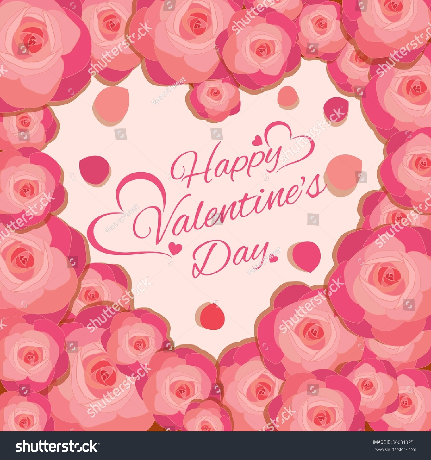 Happy Valentines Day Group Vector Pink Stock Vector Royalty Free