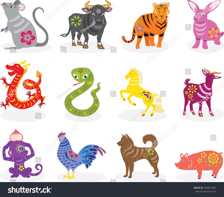 Chinese Zodiac Animals Many Colors Stock Vector 360814361 ...