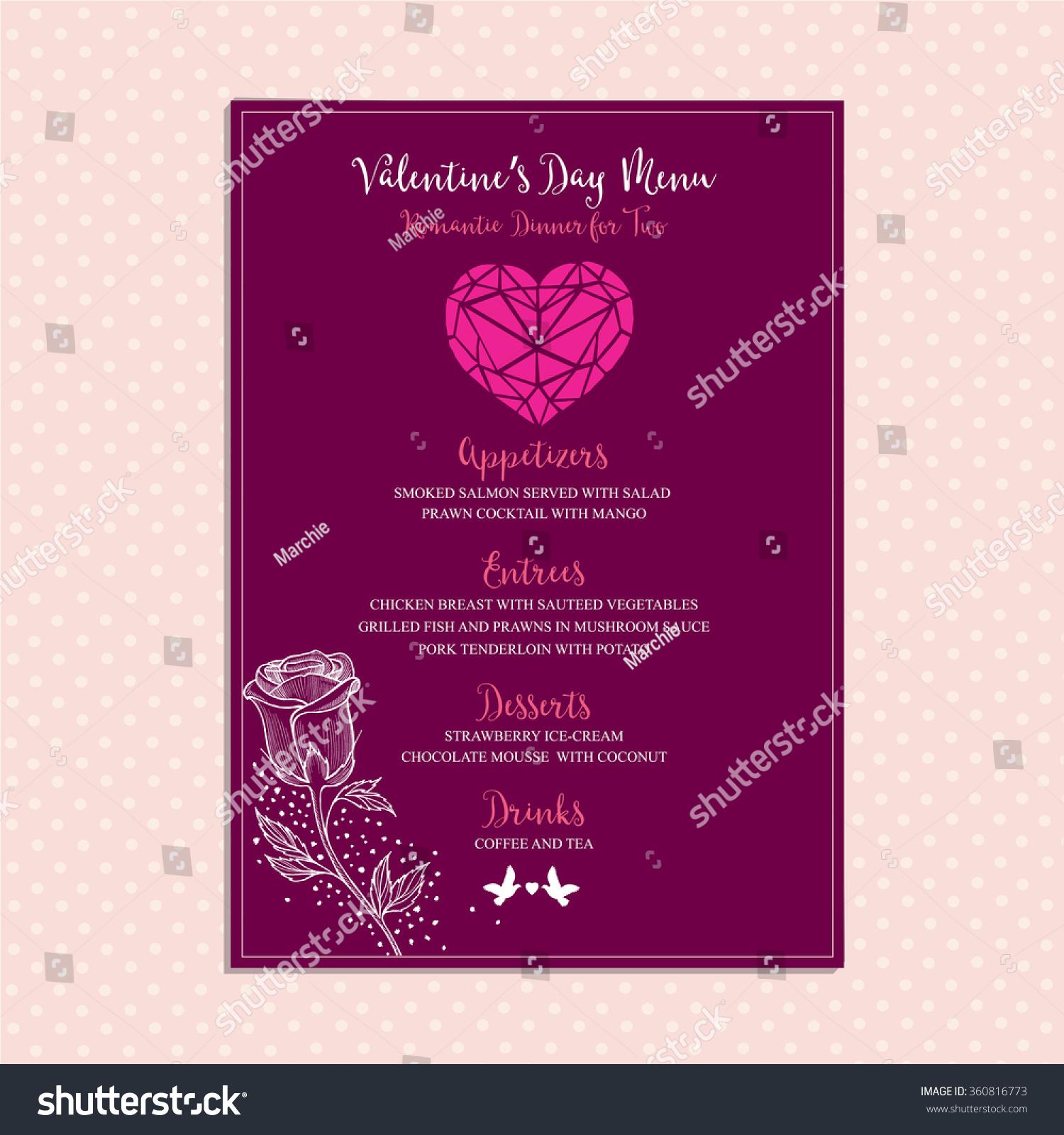 Vector valentine restaurant brochure menu design stock vector vector valentine restaurant brochure menu design vector holiday template with hand drawn graphic stopboris Images