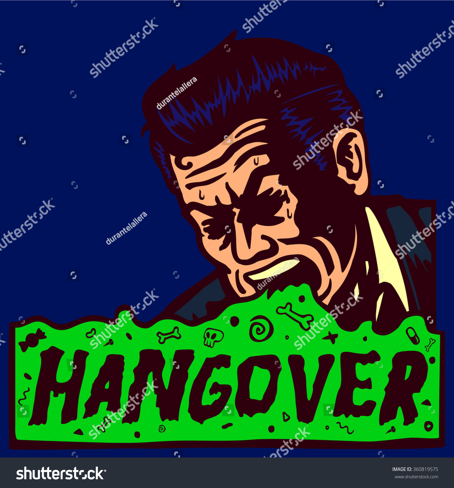 Men holding the word party concept 3d illustration stock photo - Hangover Day After Party Drunk Sick Vintage Man Vomiting Throwing Up Alcohol Abuse