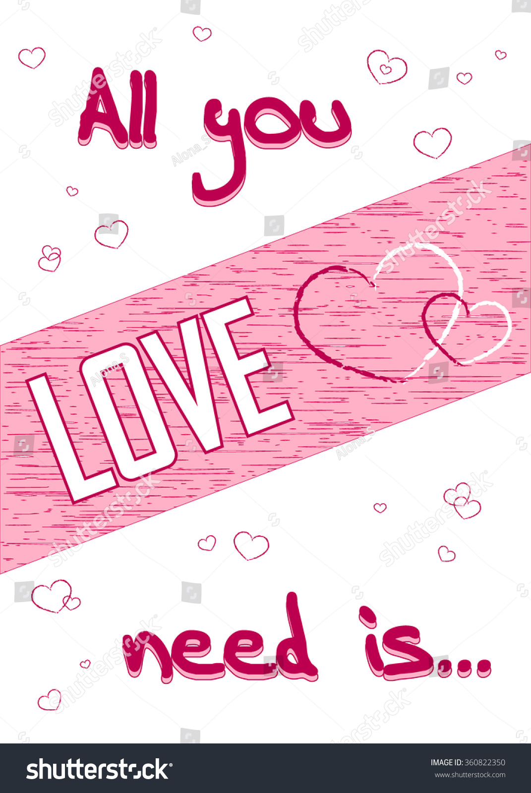 All You Need Is Love Romance Quote Text With Heart Typography Background Valentine Day