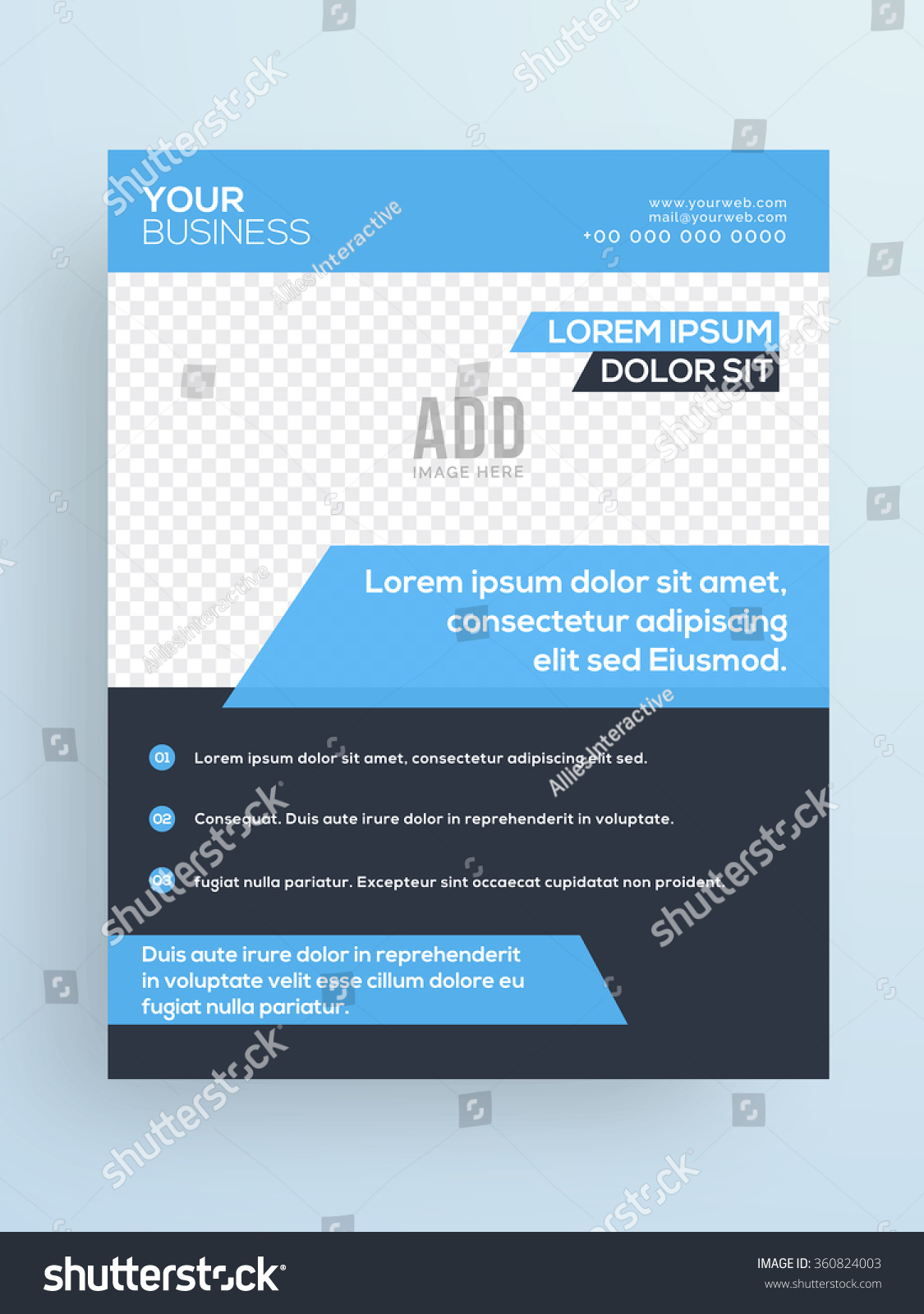 Professional One Page Business Flyer Banner Stock Vector 360824003 ...