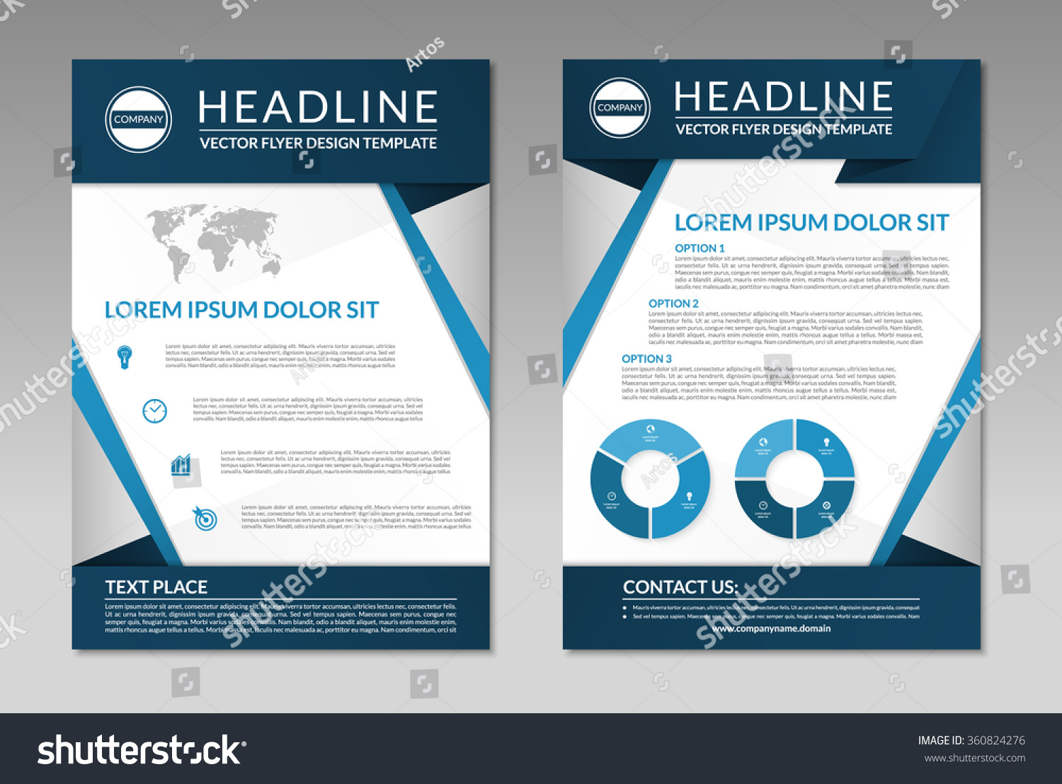 Brochure flyer leaflet design template. A4 size. Front and back page ...