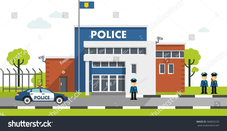 Industrial Office Design City Police Station Department Building Landscape Stock