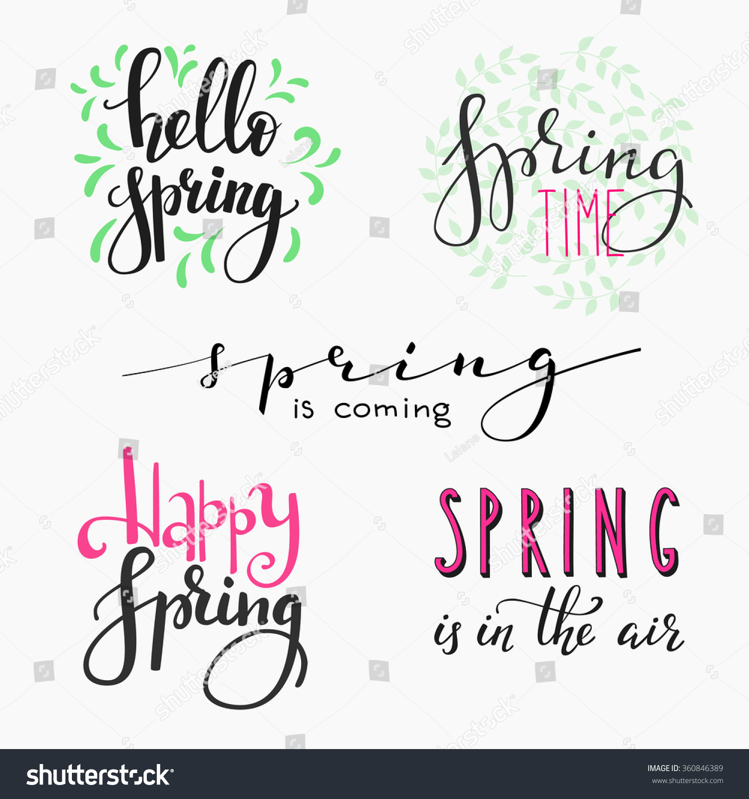 Hello spring lettering typography set calligraphy stock