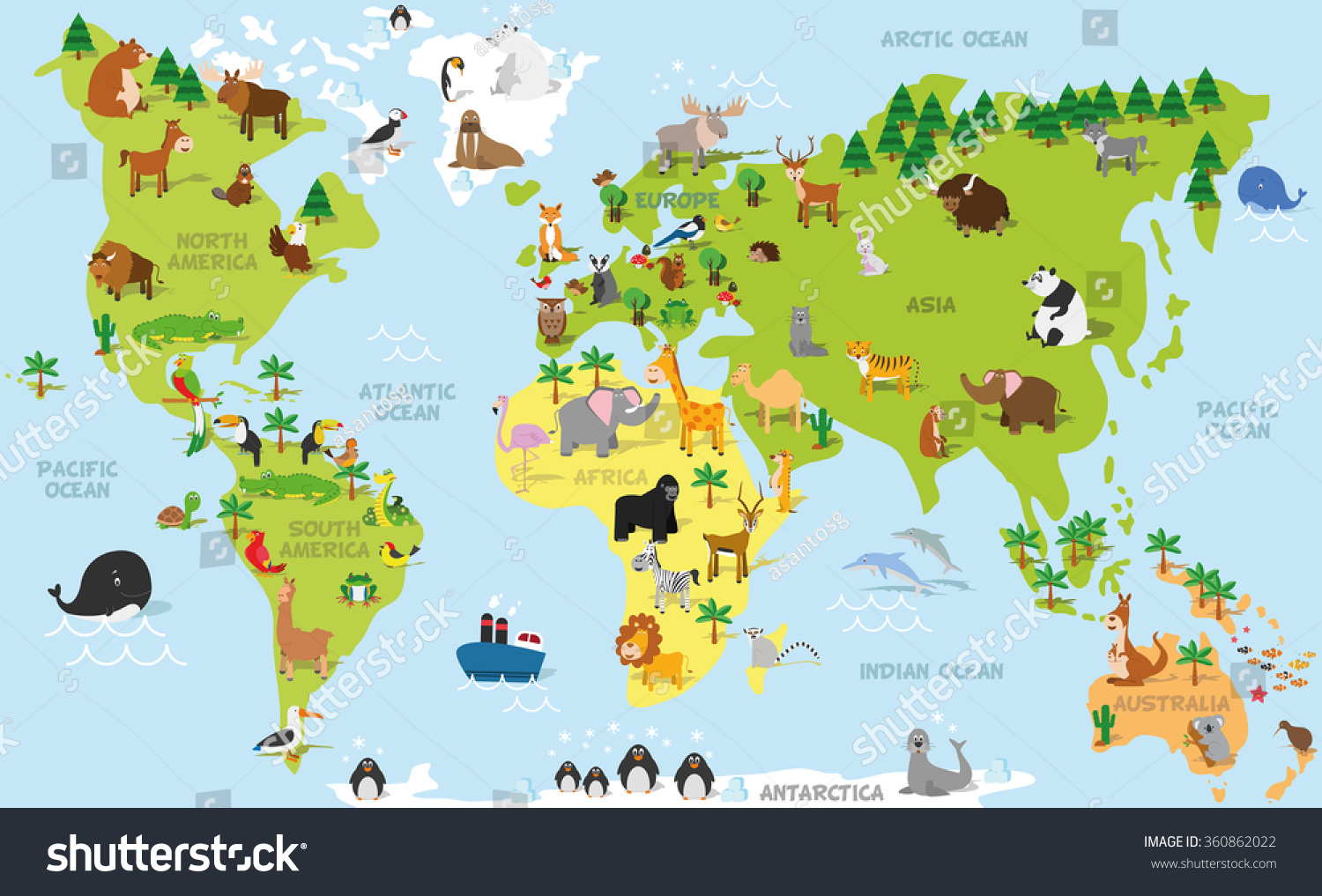 Funny cartoon world map traditional animals vectores en stock funny cartoon world map with traditional animals of all the continents and oceans vector illustration gumiabroncs Image collections