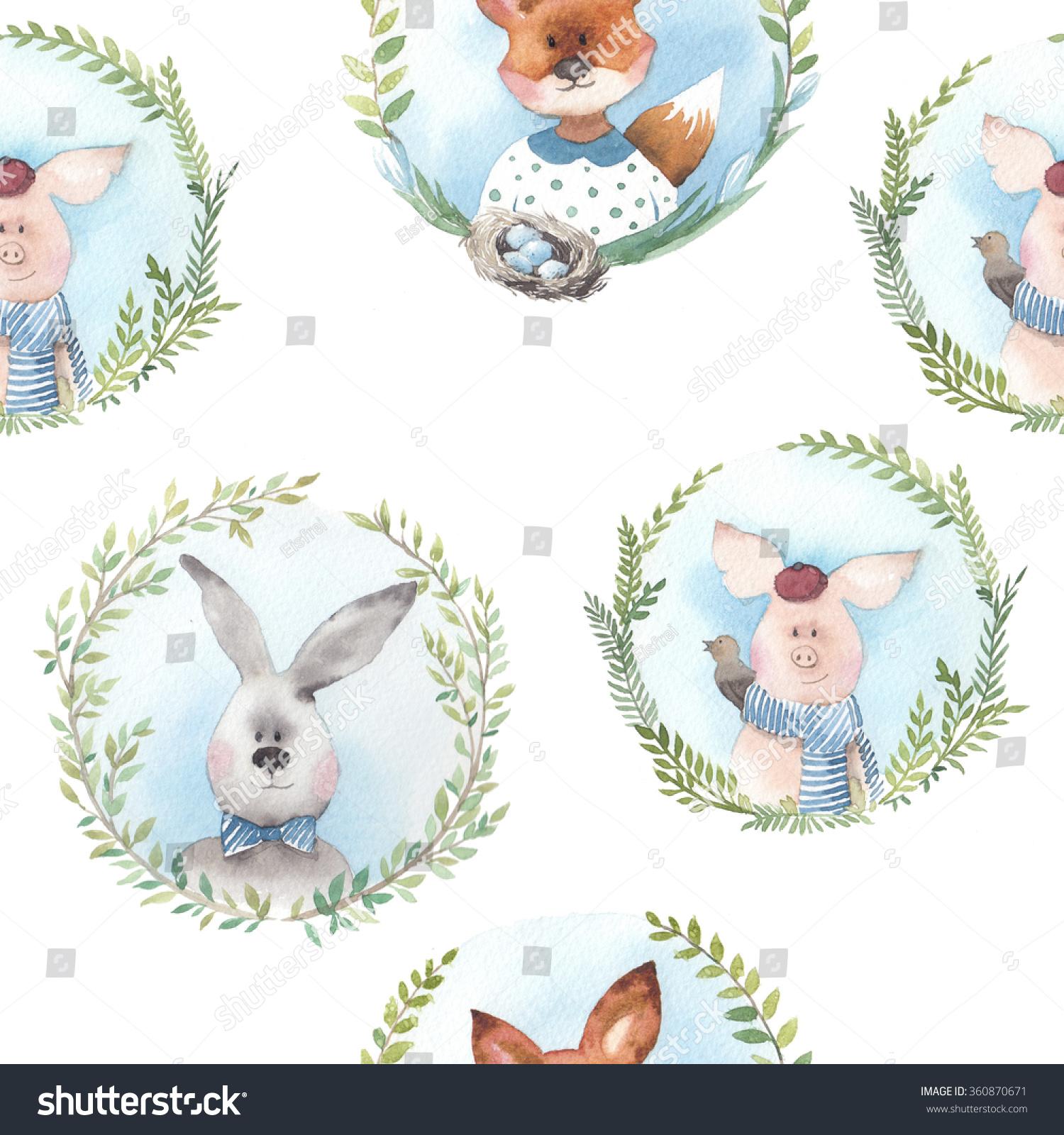 Vintage Animals Medallions Pattern Watercolor Seamless Stock Illustration 360870671
