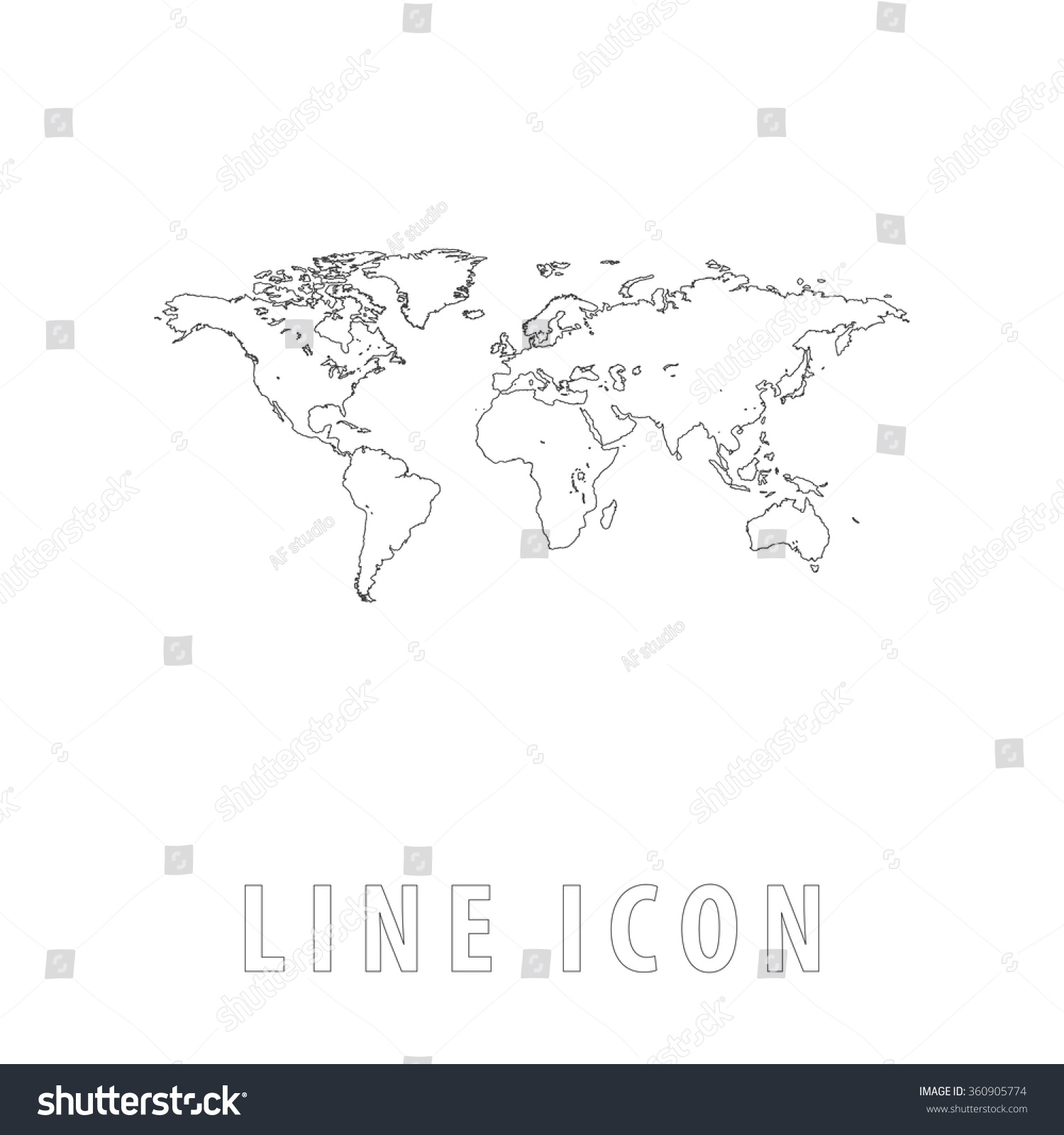 World map outline simple vector icon stock vector hd royalty free world map outline simple vector icon on white background line pictogram with text gumiabroncs Choice Image