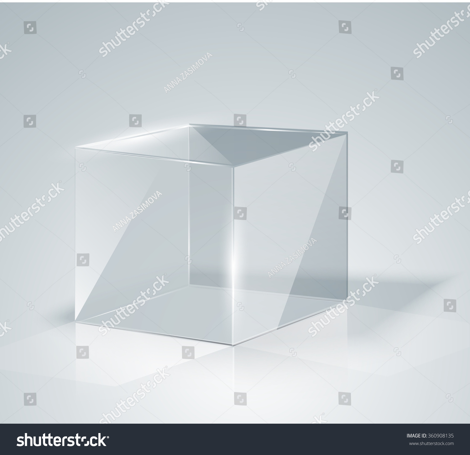 Glass Cube Transparent Cube Isolated Template Stock Vector 360908135 ...