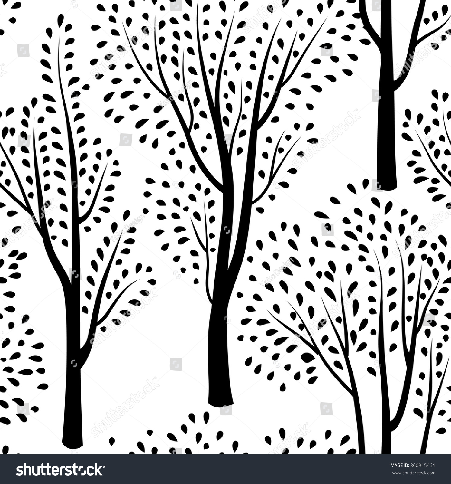 Autumn Forest Pattern Fall Leaves Trees Stock Vector (Royalty Free ...