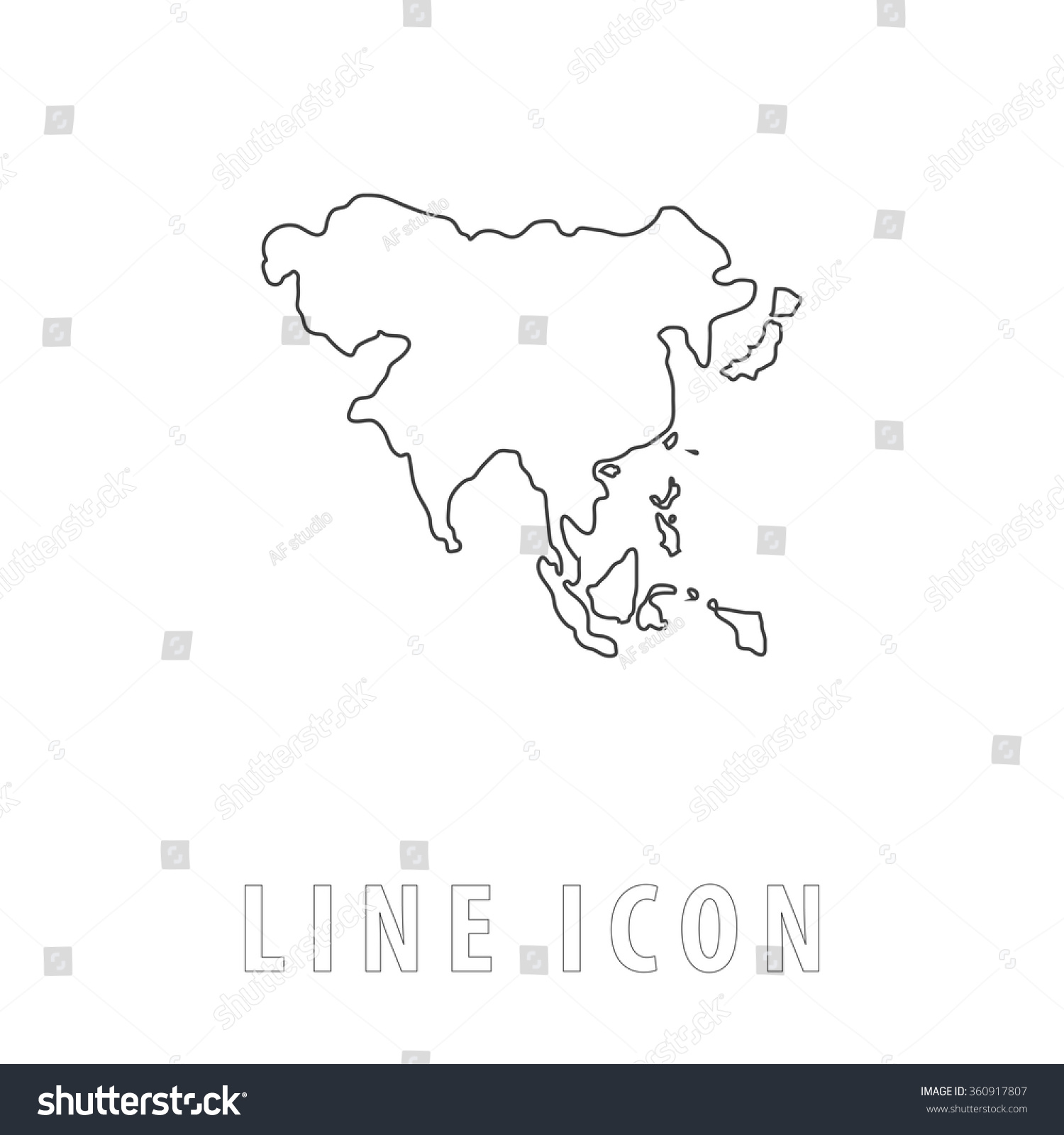 asia outline simple vector icon on stock vector 360917807