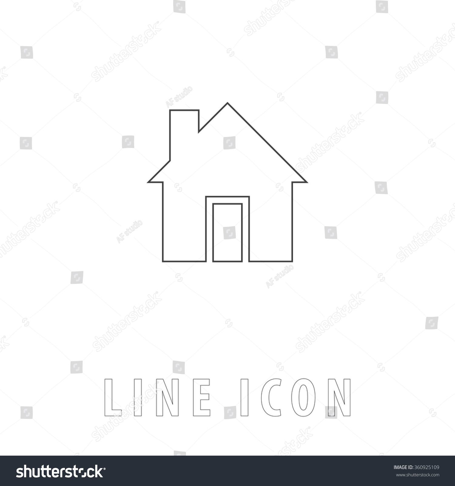 House outline picture - House Outline Simple Vector Icon On White Background Line Pictogram With Text