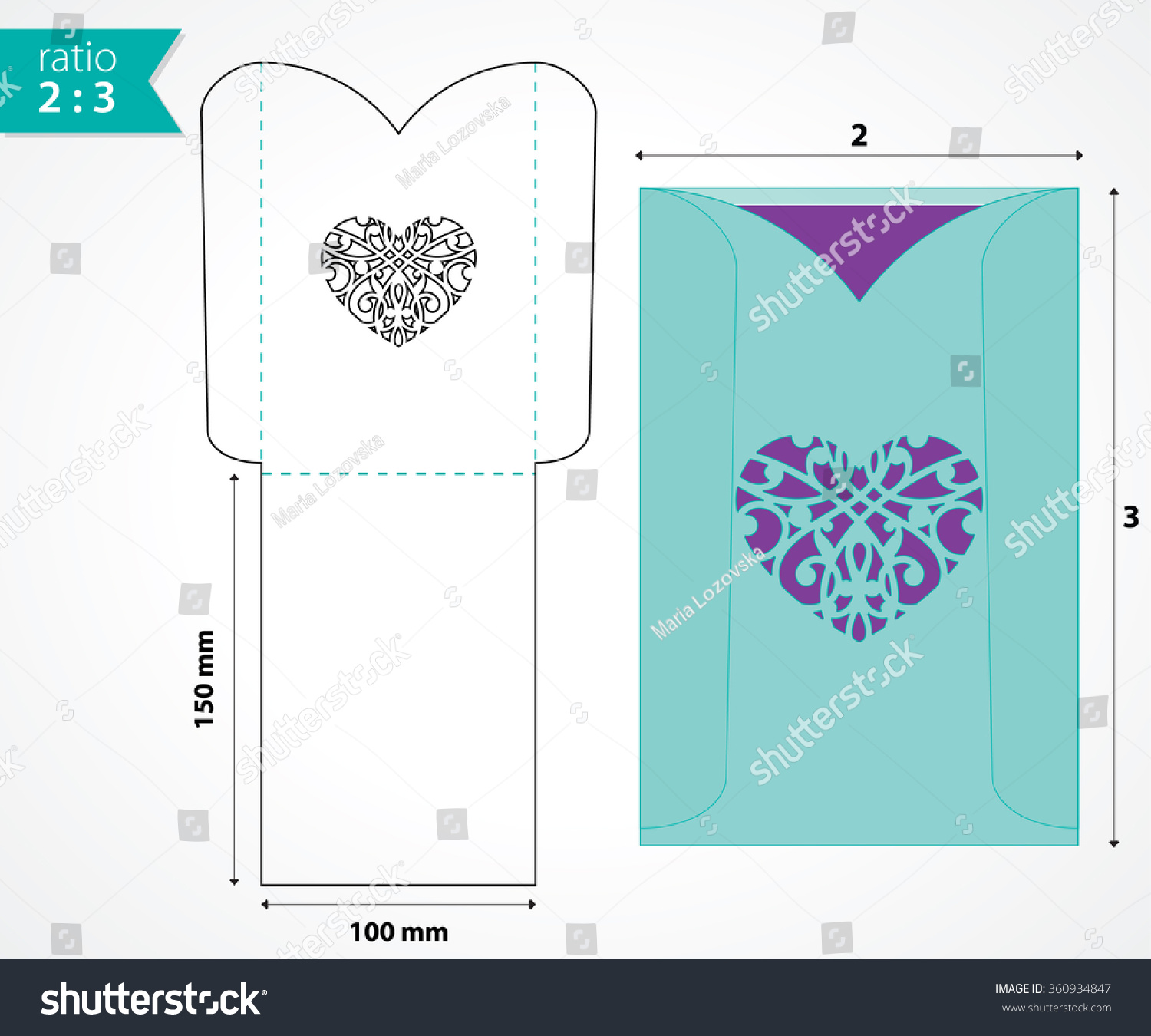 pocket envelope template die cut heart stock vector 360934847 shutterstock. Black Bedroom Furniture Sets. Home Design Ideas