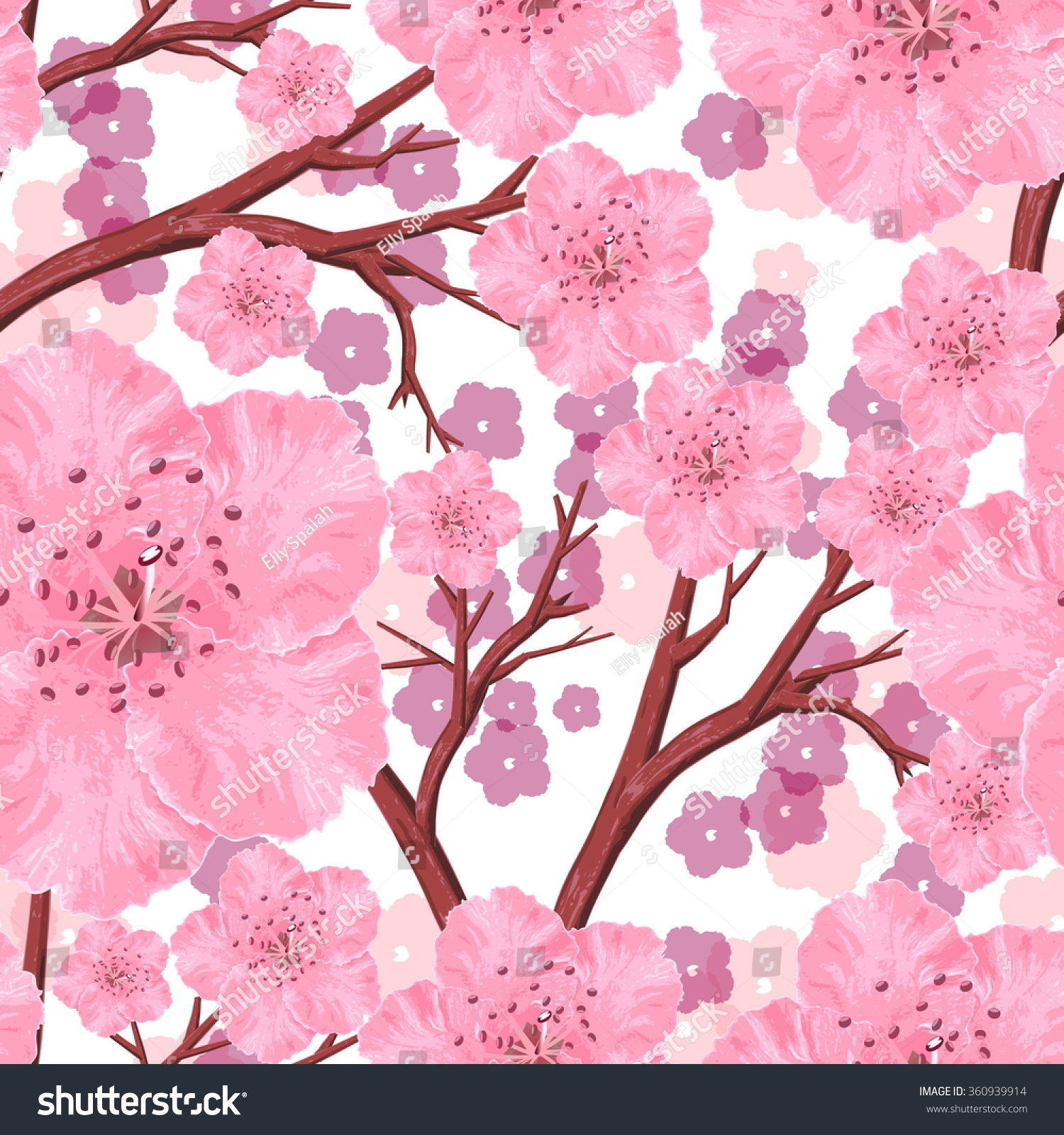 Vector Seamless Pattern Peach Pink Flowers Stock Vector Royalty