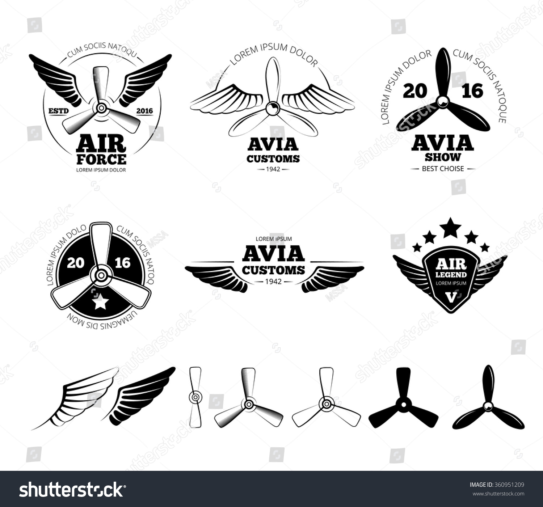 Vintage Airplane Labels Emblems Symbols Set Stock Vector Royalty