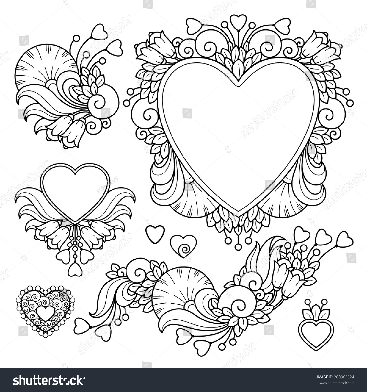 Vector Set Love Valentines Day Abstract Elements In Doodle Style Floral Nature Ornate Decorative Heart Compositions Black And White Monochrome