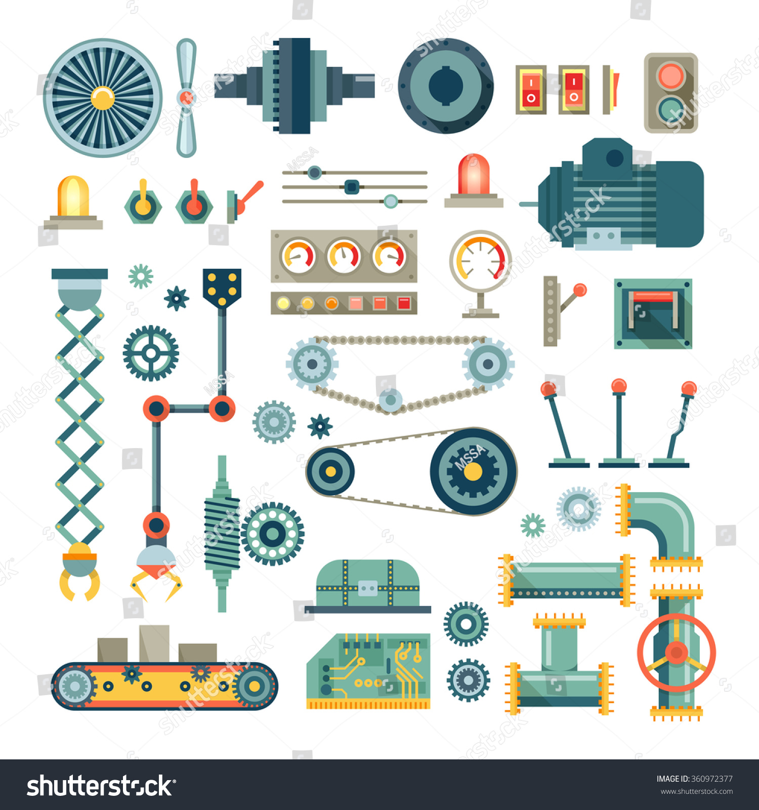 Tractor Parts Icon : Parts machinery robot flat icons set stock vector