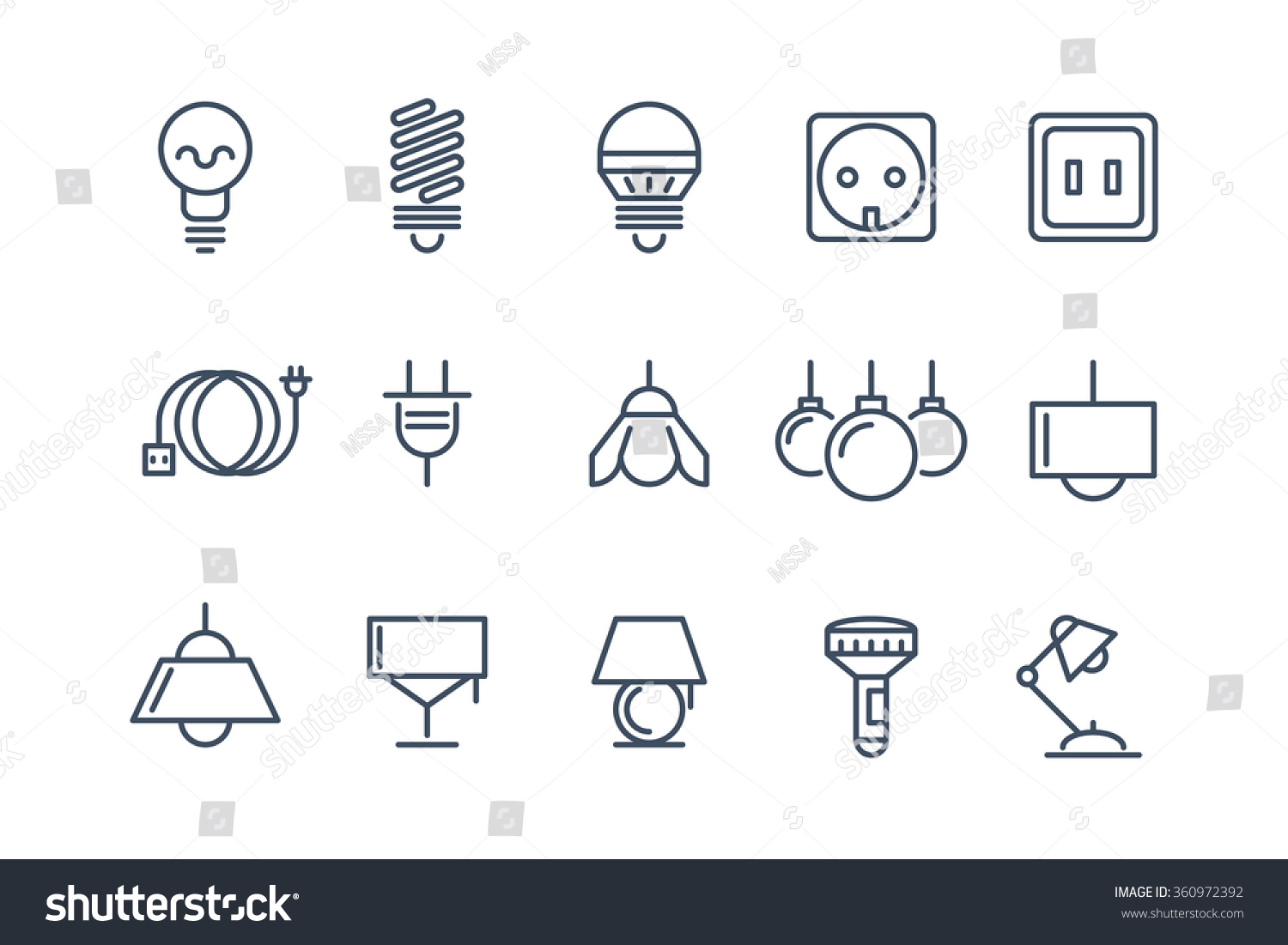 Lamp Bulbs Line Icons Set Electrical Stock Vector Royalty Free