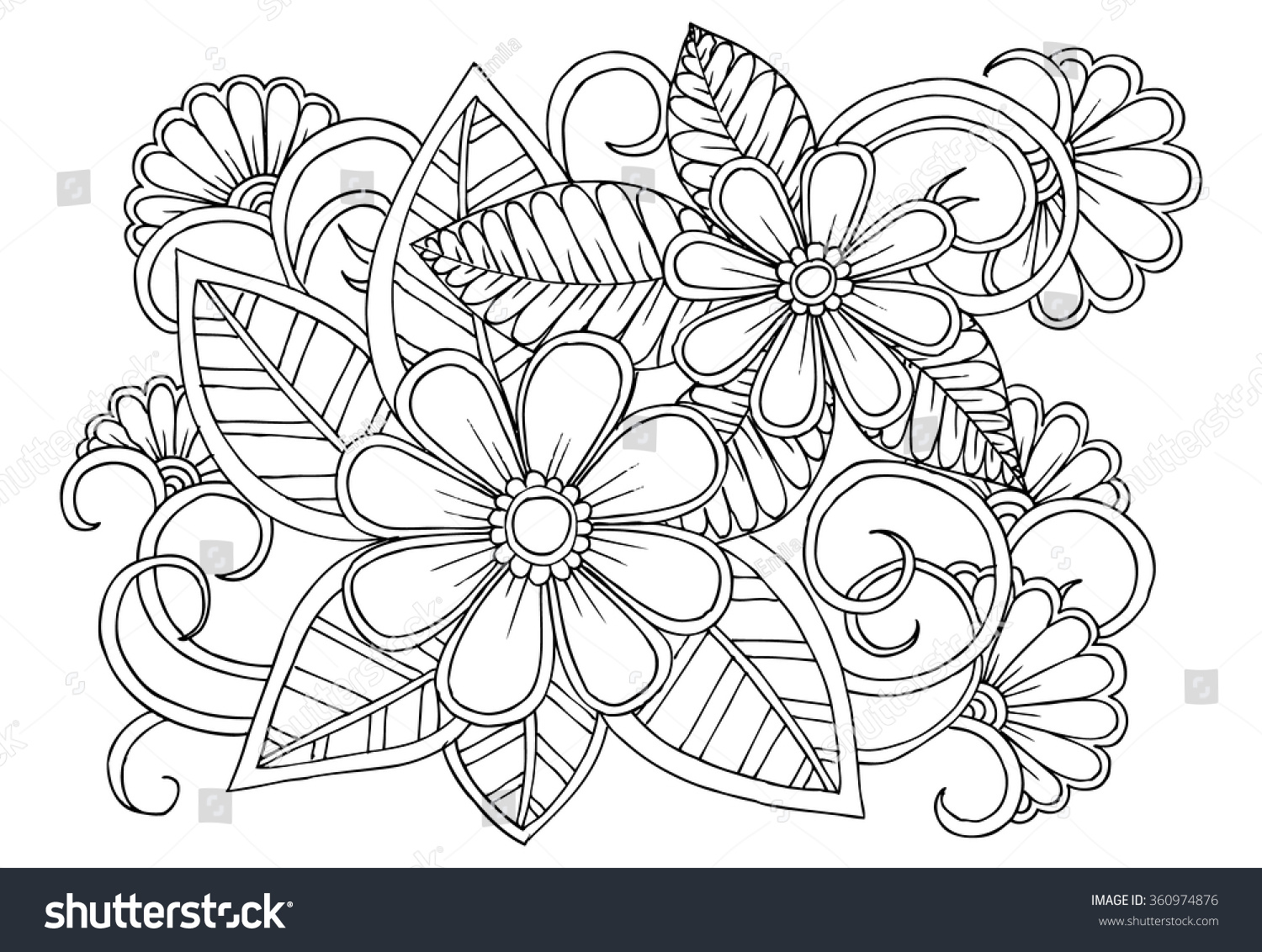 Doodle floral pattern black white page stock vector for Drawing of carpet design
