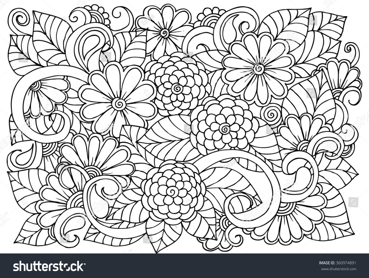 Doodle Floral Pattern Black White Page Stock Vector 360974891