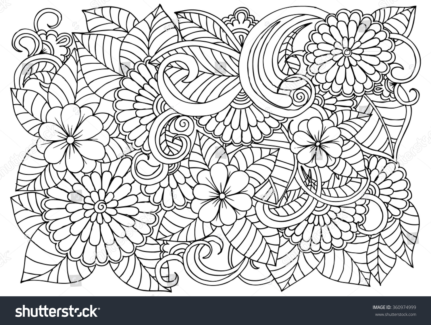 Doodle Floral Pattern Black White Page Stock Vector