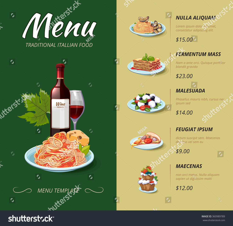 Italian cuisine restaurant menu food dinner stock vector - Italian cuisine menu list ...