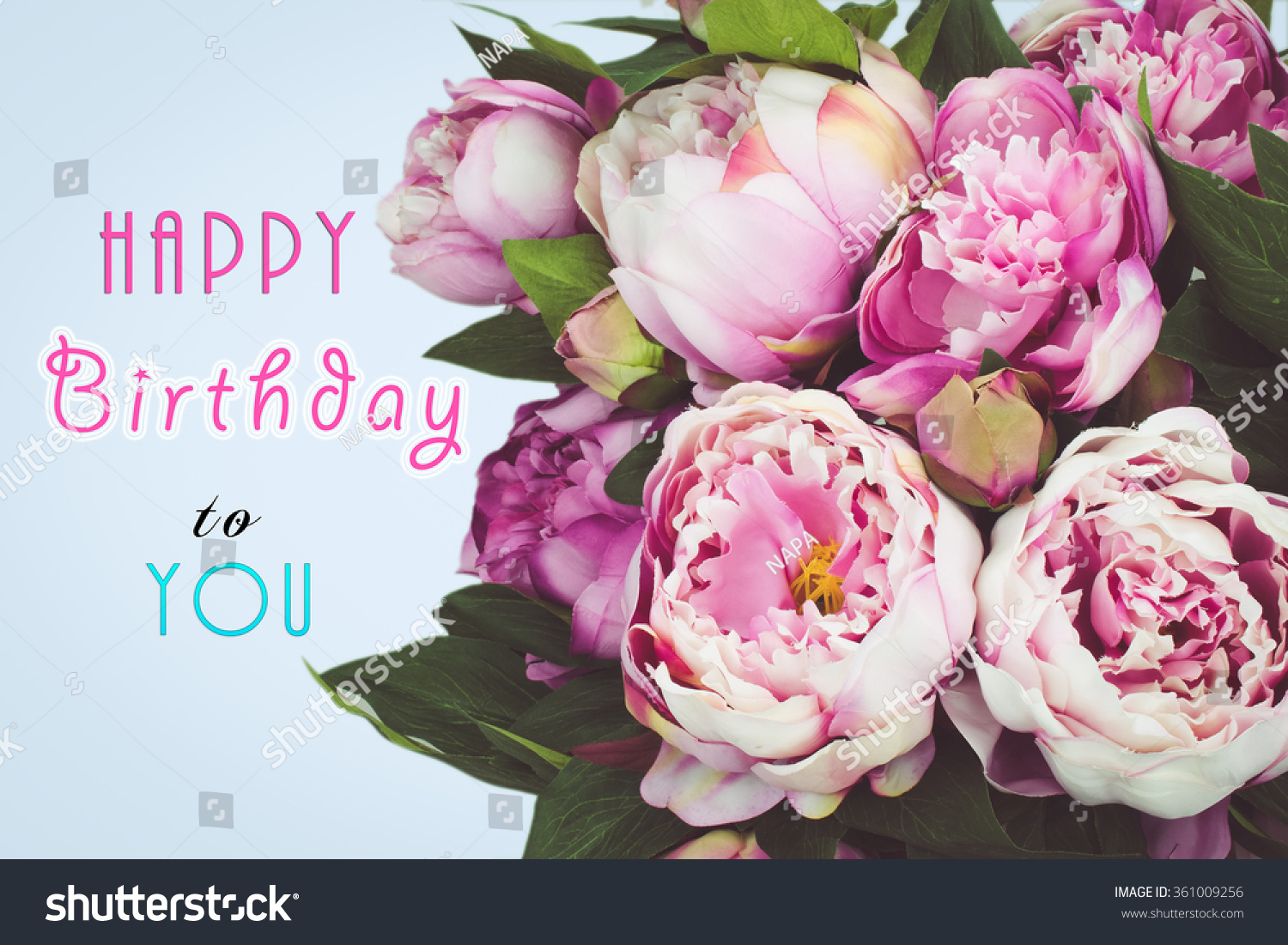 Happy birthday text card pink peony stock photo 361009256 happy birthday text card with pink peony flowers blue background dhlflorist Images