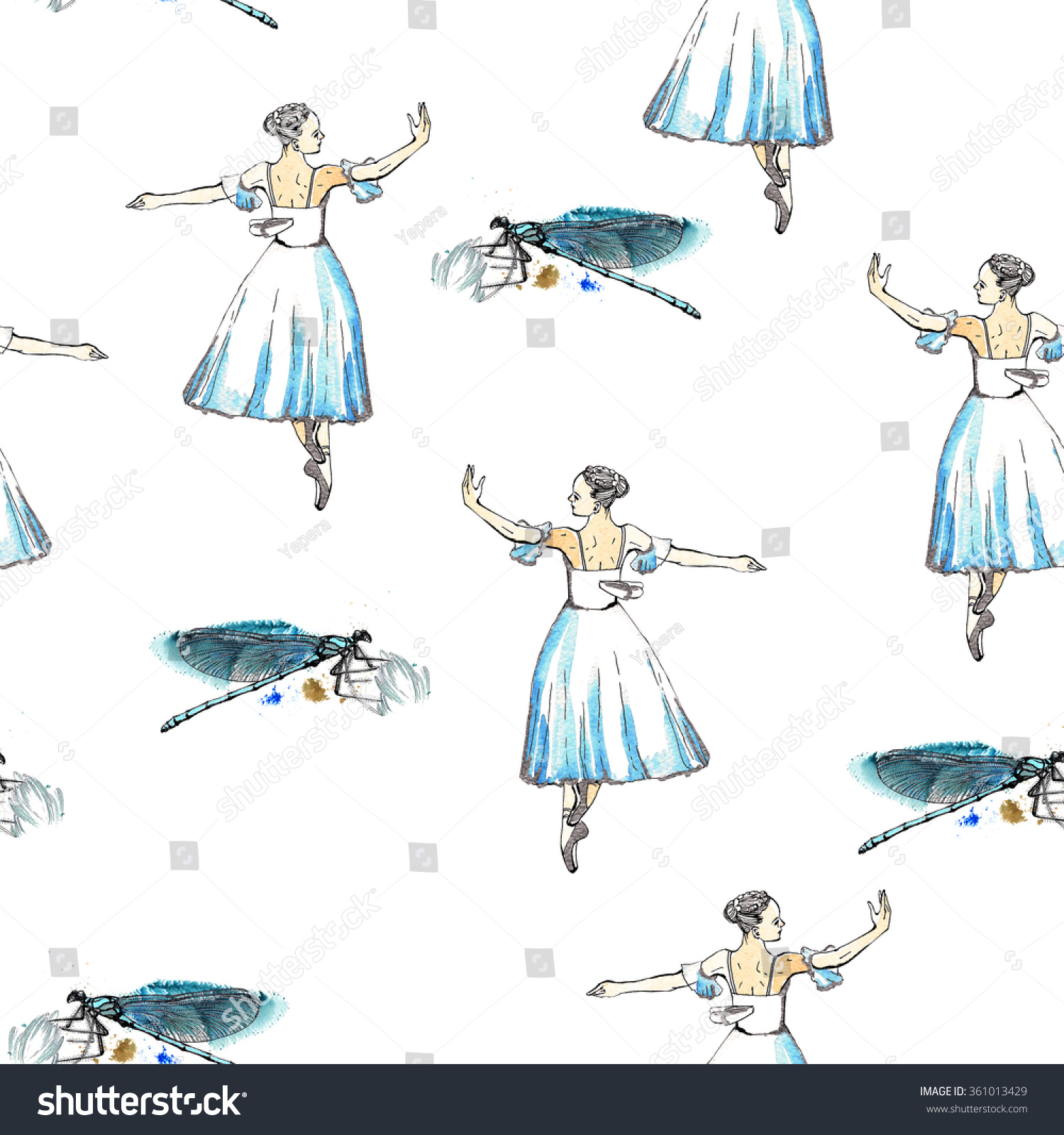 Seamless pattern of ballet dancers royalty free stock photography - Seamless Pattern Of Ballet Dancers And Dragonflies Black And Silver Drawing Watercolor Painting