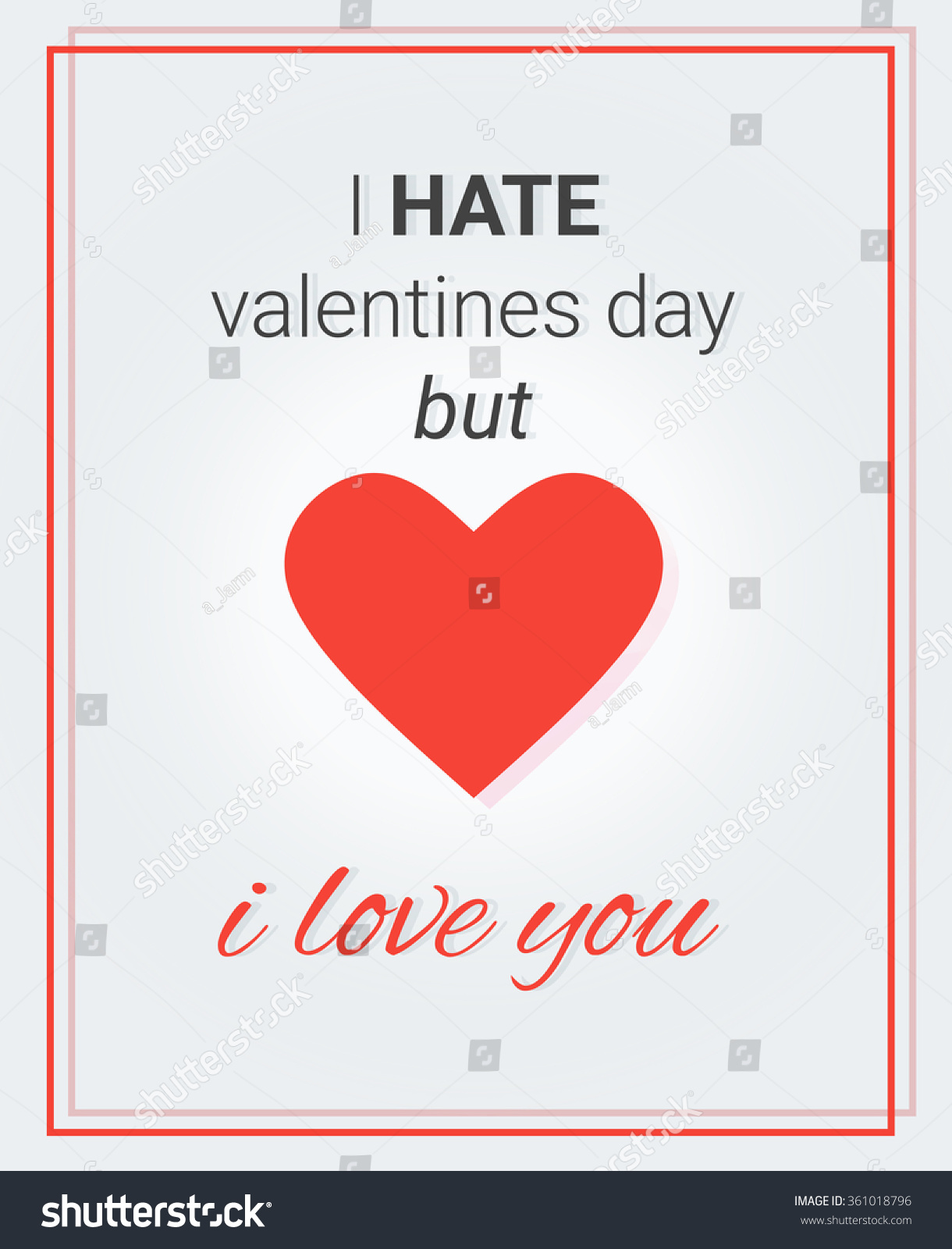 Poster Heart Text Hate Valentines Day Stock Vector Royalty Free