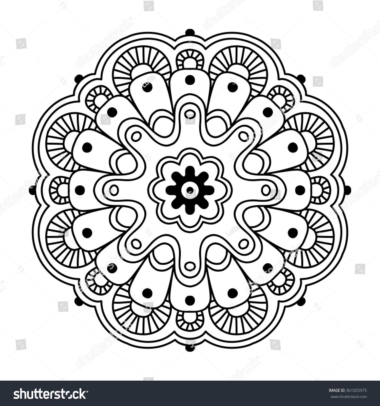 Black Round Simple Indian Mandala Abstract Stock Vector ...   1500 x 1600 jpeg 572kB