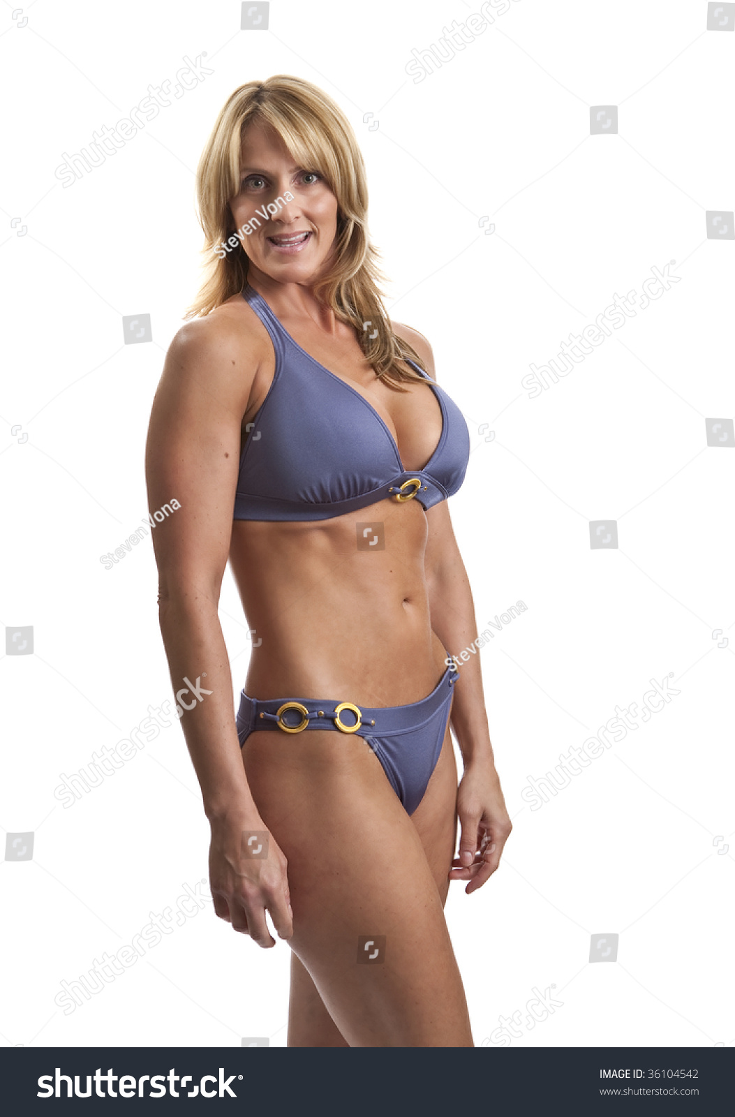 very fit mature woman bikini stock photo (royalty free) 36104542