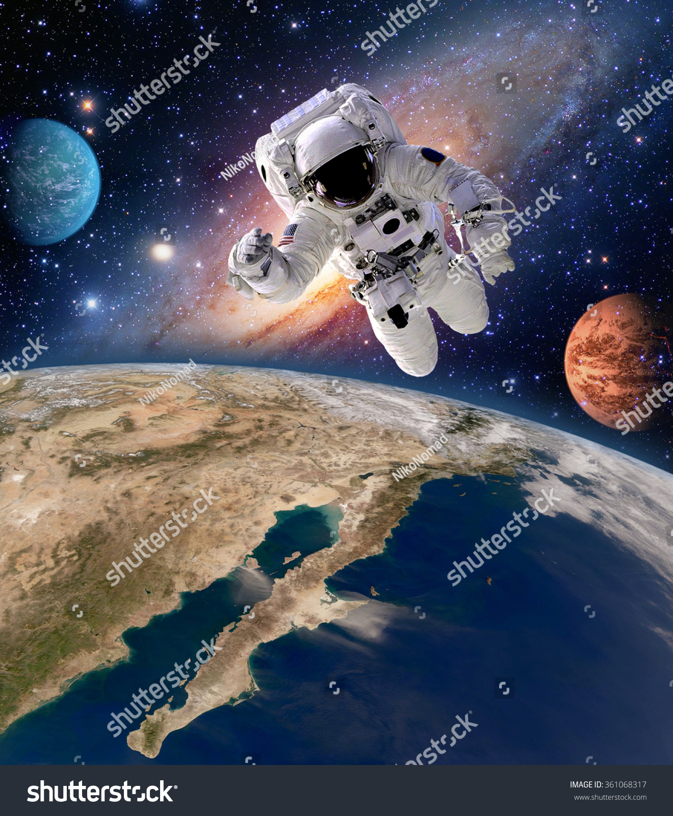 Astronaut spaceman solar system planet spacewalk stock for Outer space elements