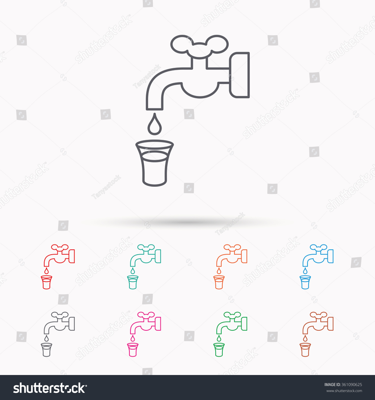 Save Water Icon Crane Faucet Drop Stock Vector 361090625 - Shutterstock