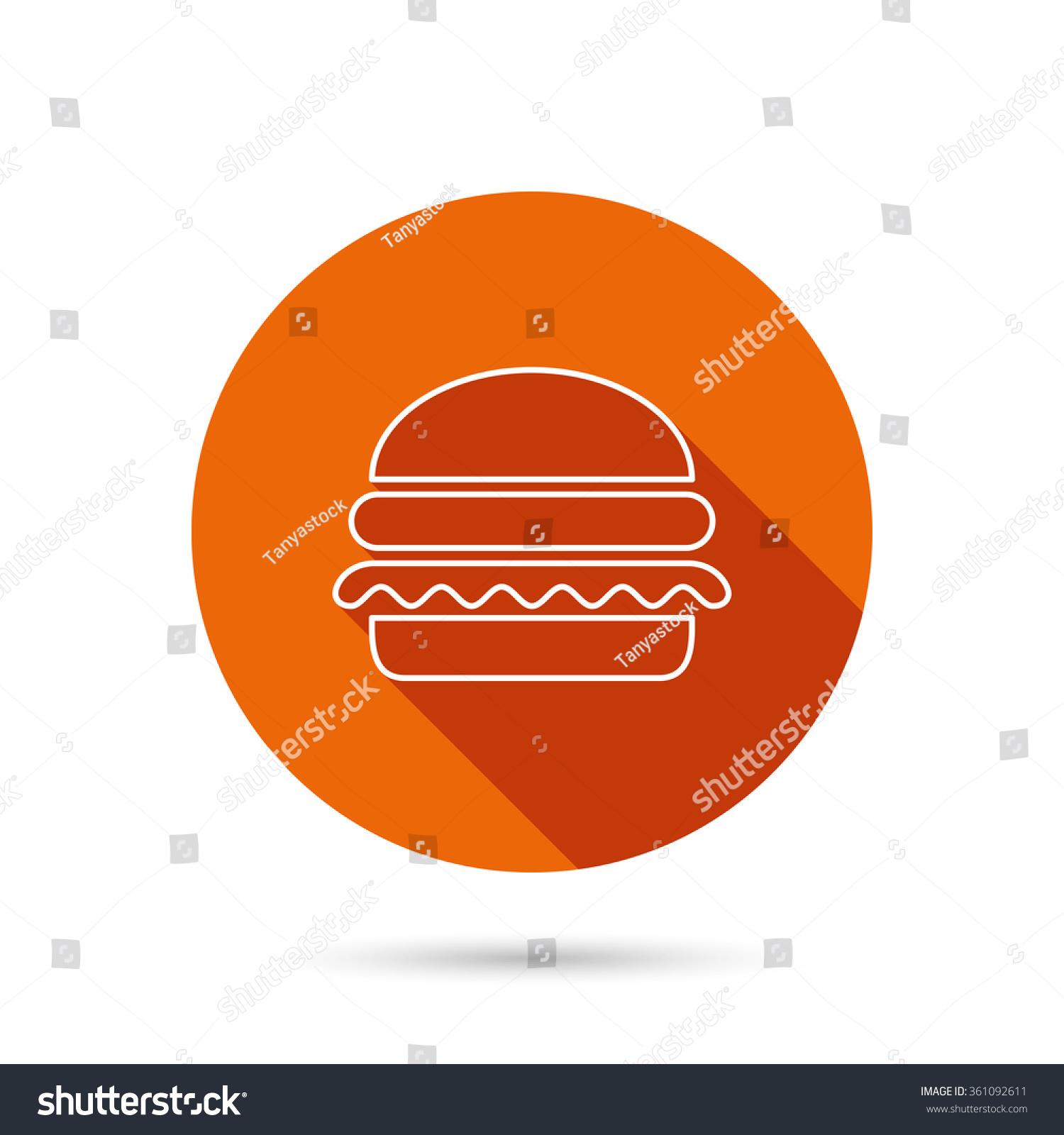 Hamburger Icon Fast Food Sign Burger Symbol Round Orange Web