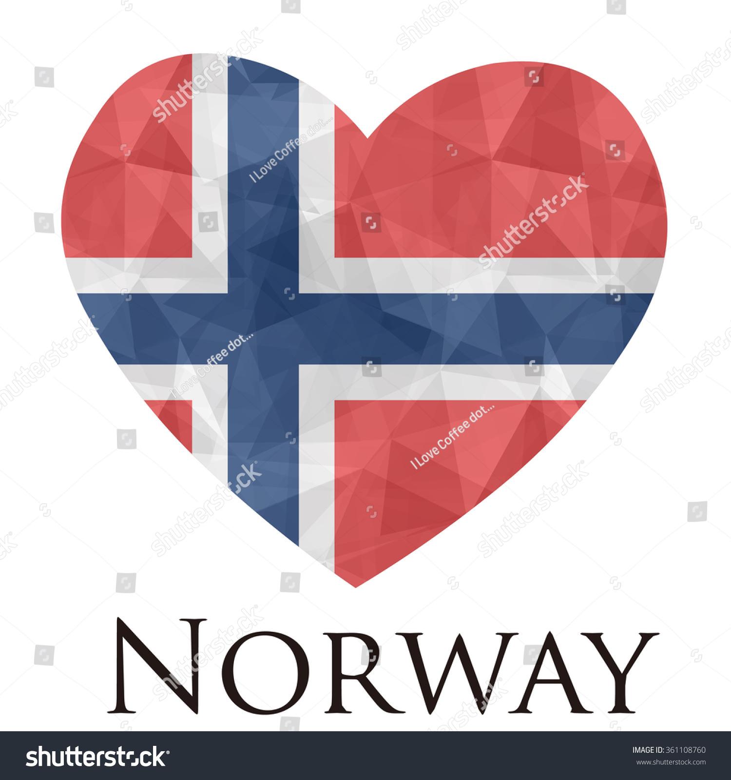norway flag shape heart geometric rumpled stock vector 361108760