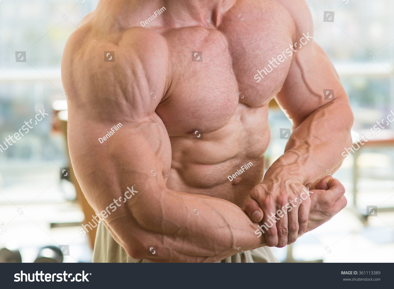 Muscular Torso Arms Bodybuilder Huge Muscles Stock Photo Royalty