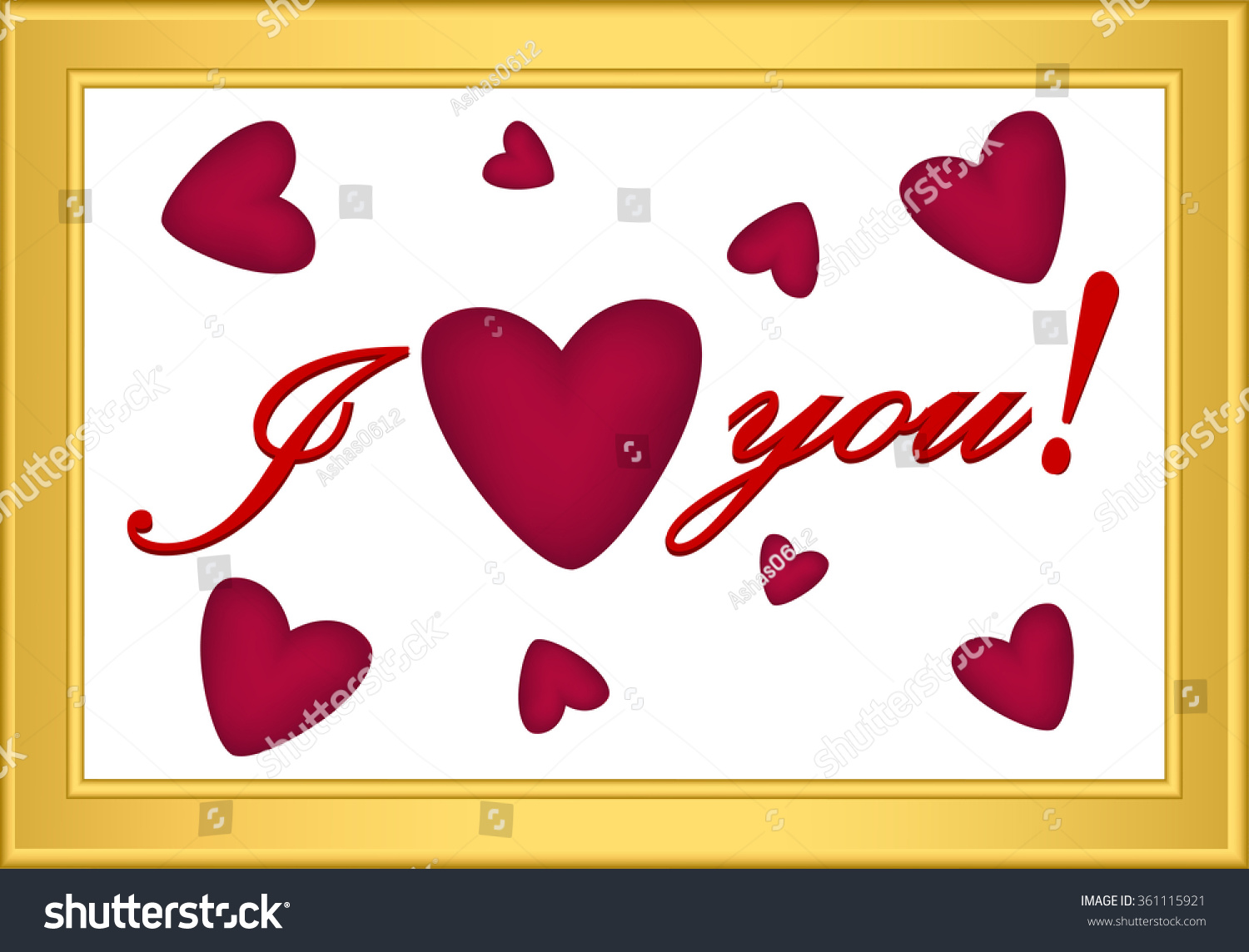 Icon Red Heart Inscription Love You Stock Vector 361115921 ...