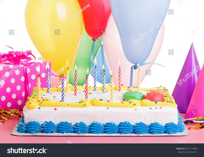 Colorful Birthday Cake Burning Candles Decorations Stock Photo Edit