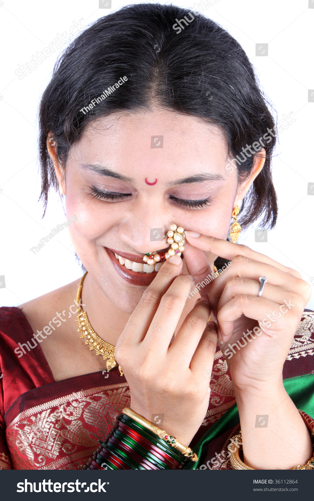 Beautiful Traditional Indian Woman Adjusting Her Stock Photo (Edit ...