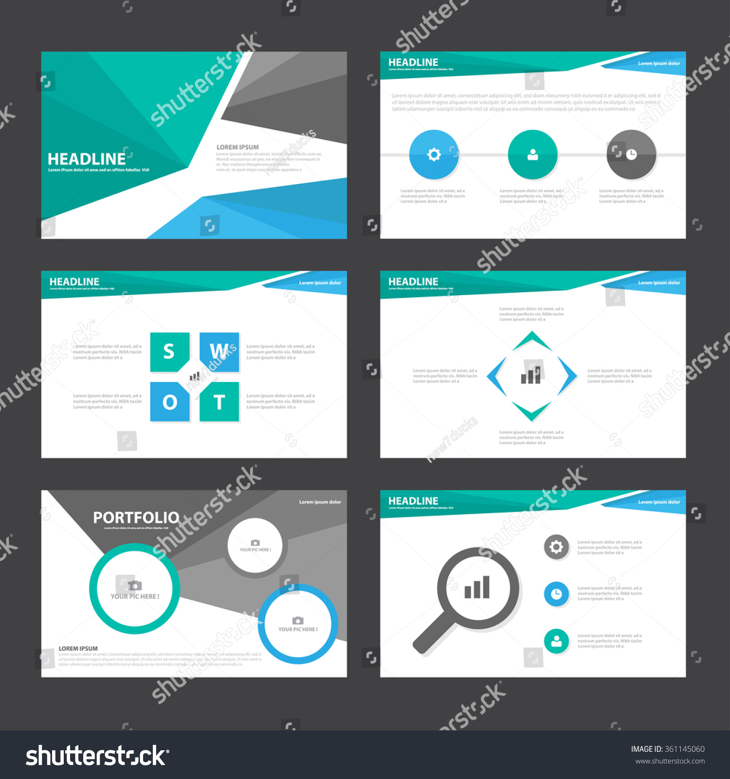 royalty-free blue green black presentation templates… #361145060, Powerpoint templates