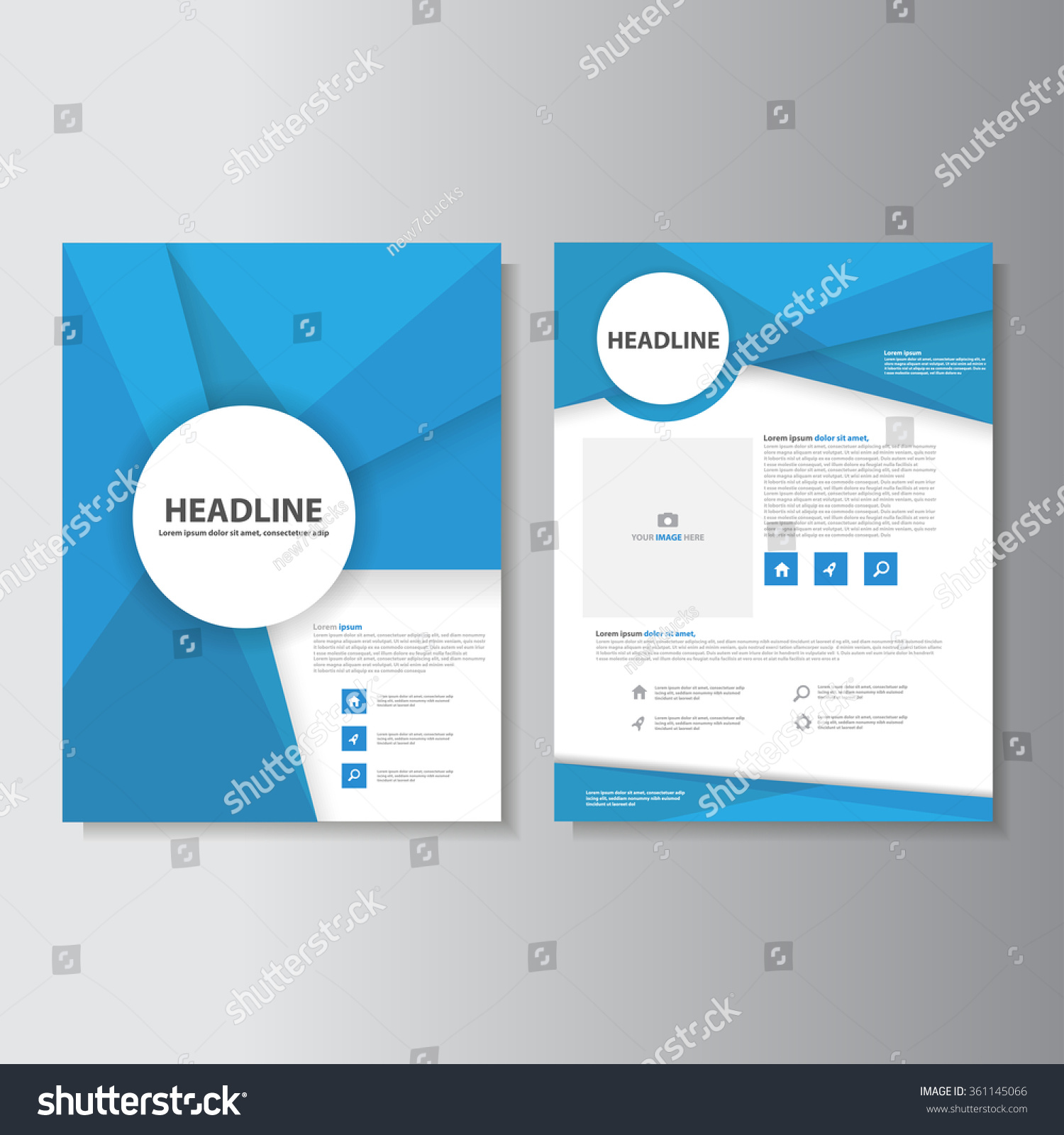 blue brochure a 4 flyer leaflet template stock vector royalty free