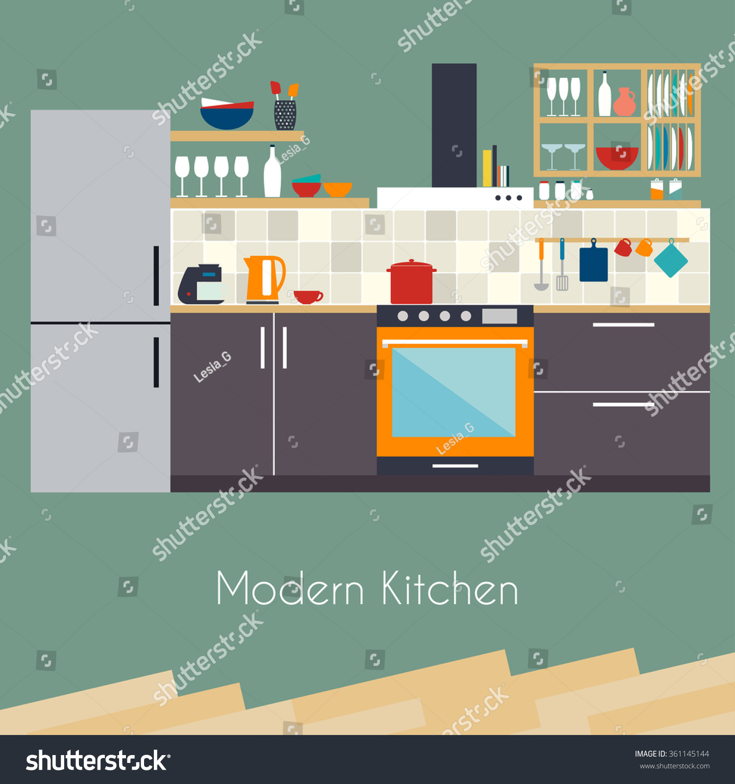 Interior Design For Kitchen For Flats: Kitchen Interior Flat Design Kitchen Concept Stock Vector