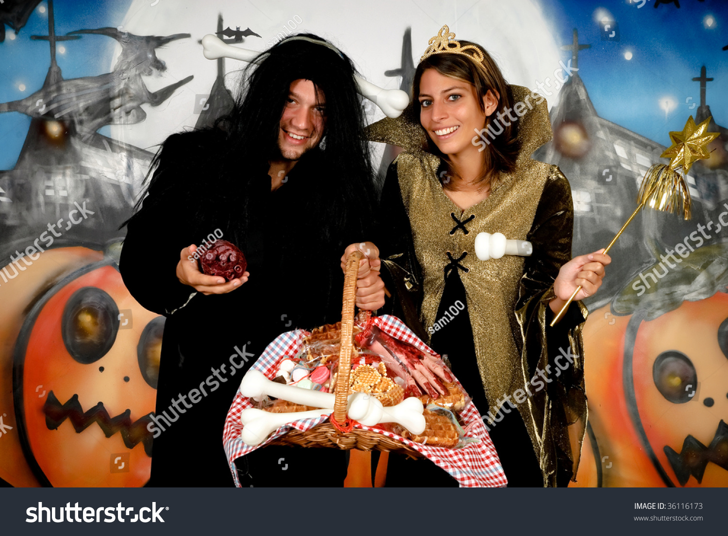 Young Halloween Couple Female Witch Man Stock Photo 36116173 ...