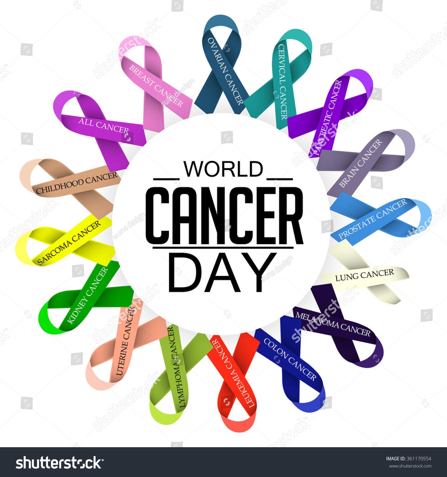 vector illustration world cancer day ribbon stock vector