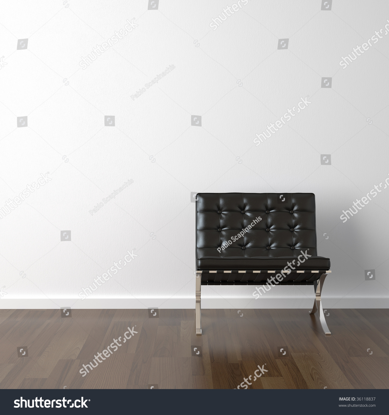 Interior Design Black Barcelona Chair Stock Illustration