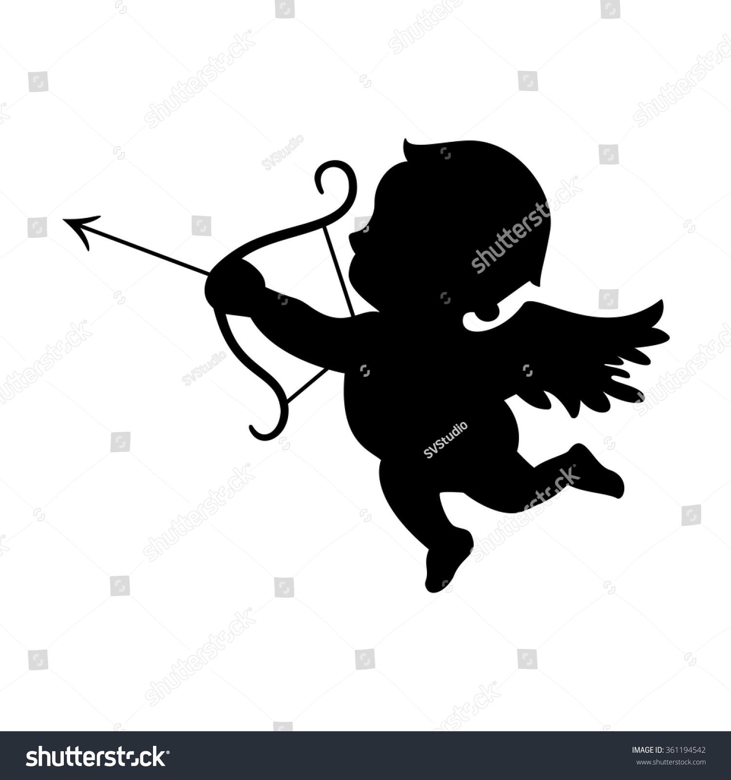 cupid black silhouette valentines day symbol stock vector