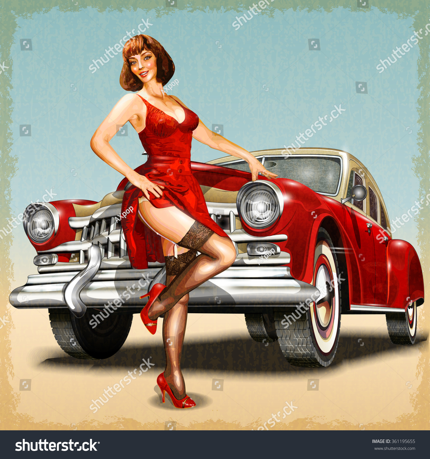 Royalty-free Vintage background with pin-up girl and ...