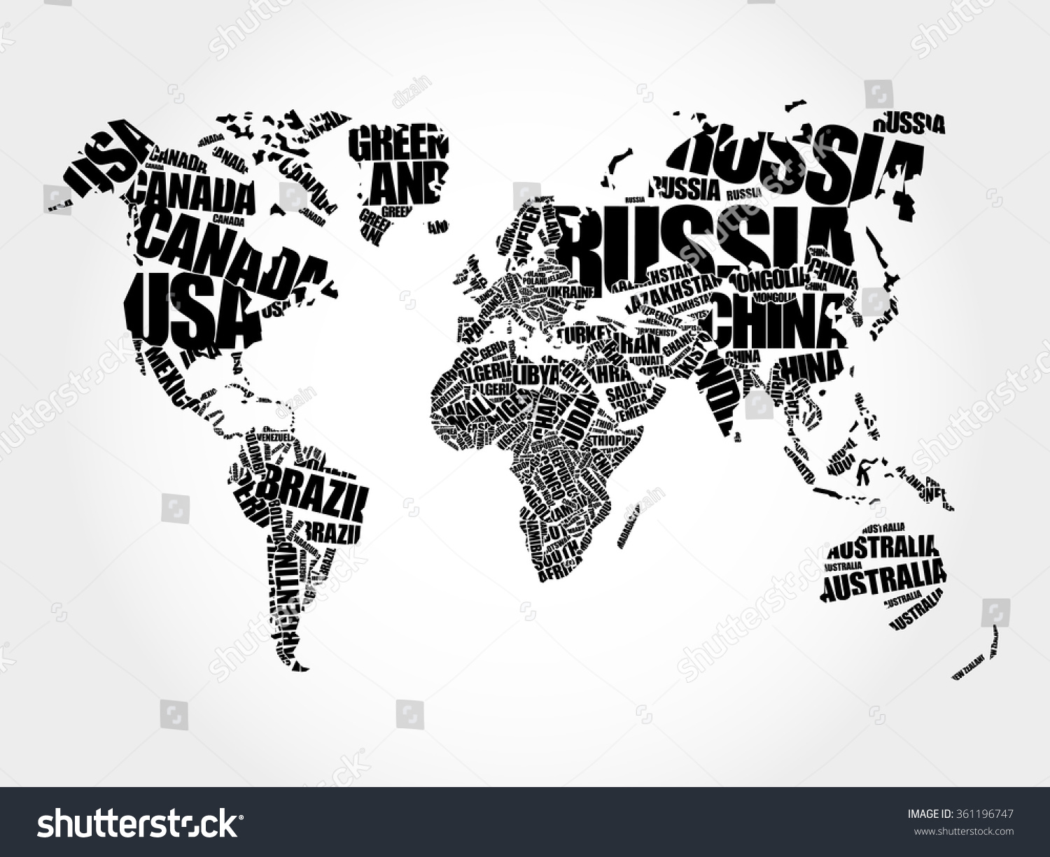world map in typography word cloud concept names of countries 361196747