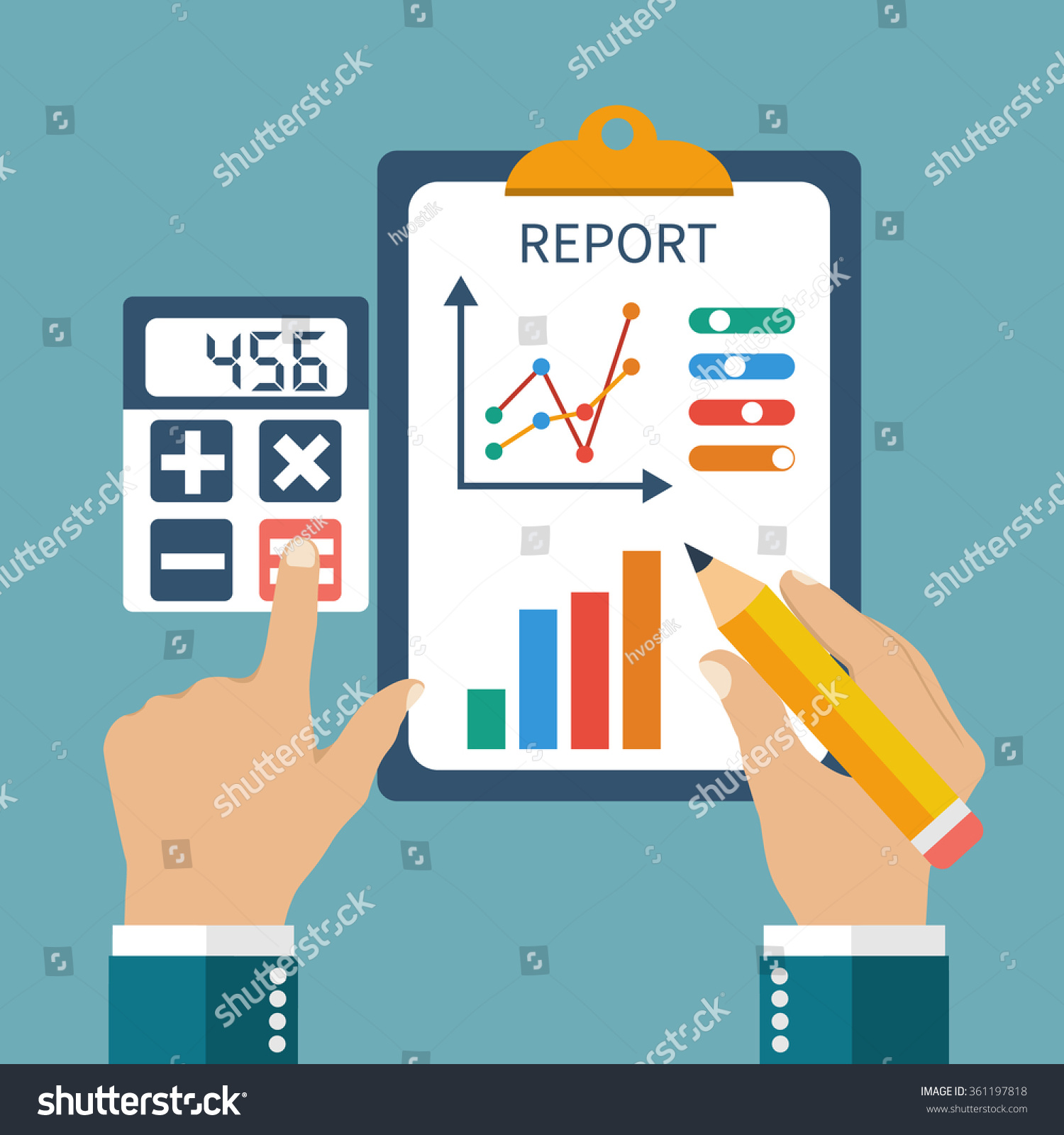Finance report concept flat style Money income management profit strategy investments and planning Financial report on schedule pencil in his hands and calculator