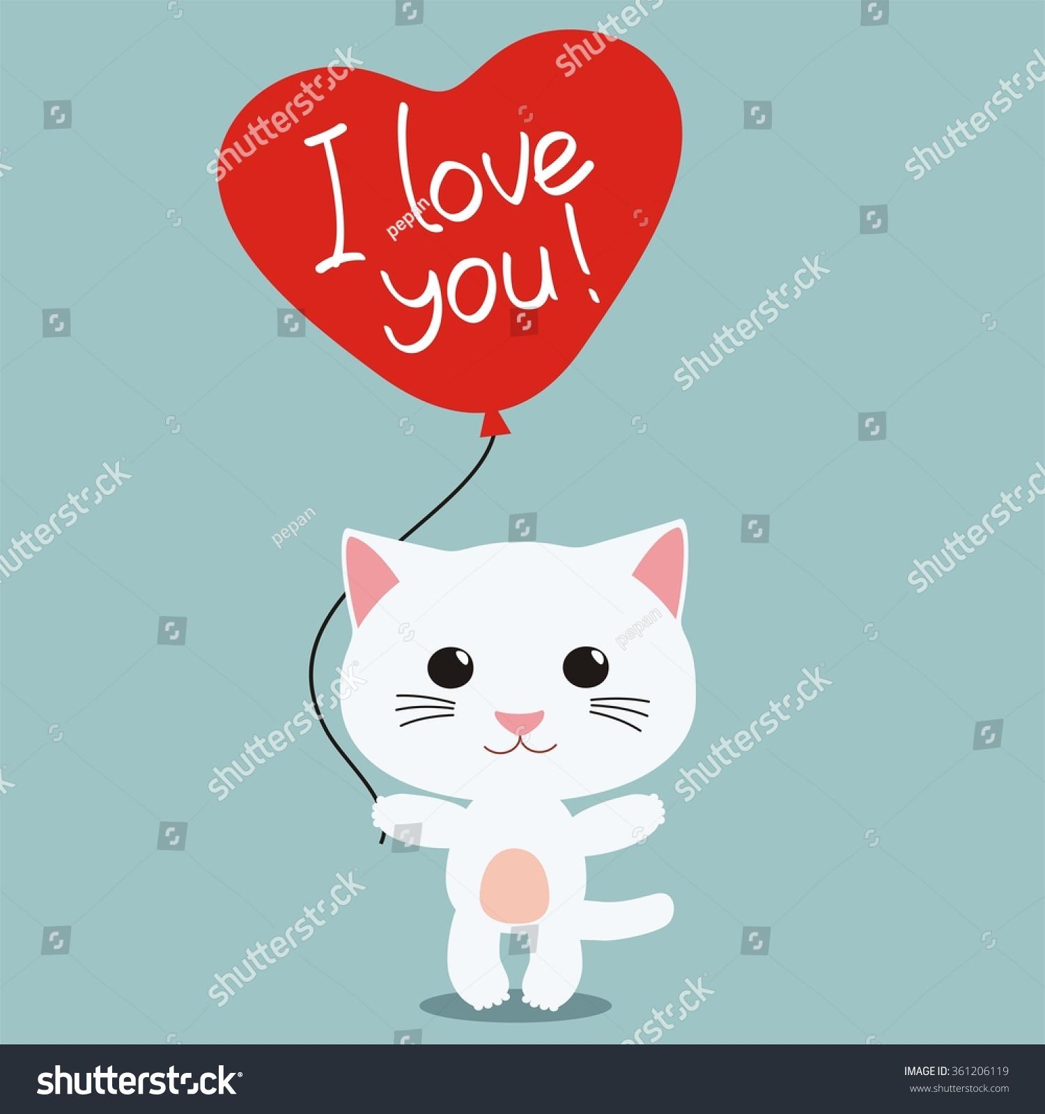 Love You Cute Kitten Heart Balloon Stock Vector Royalty Free